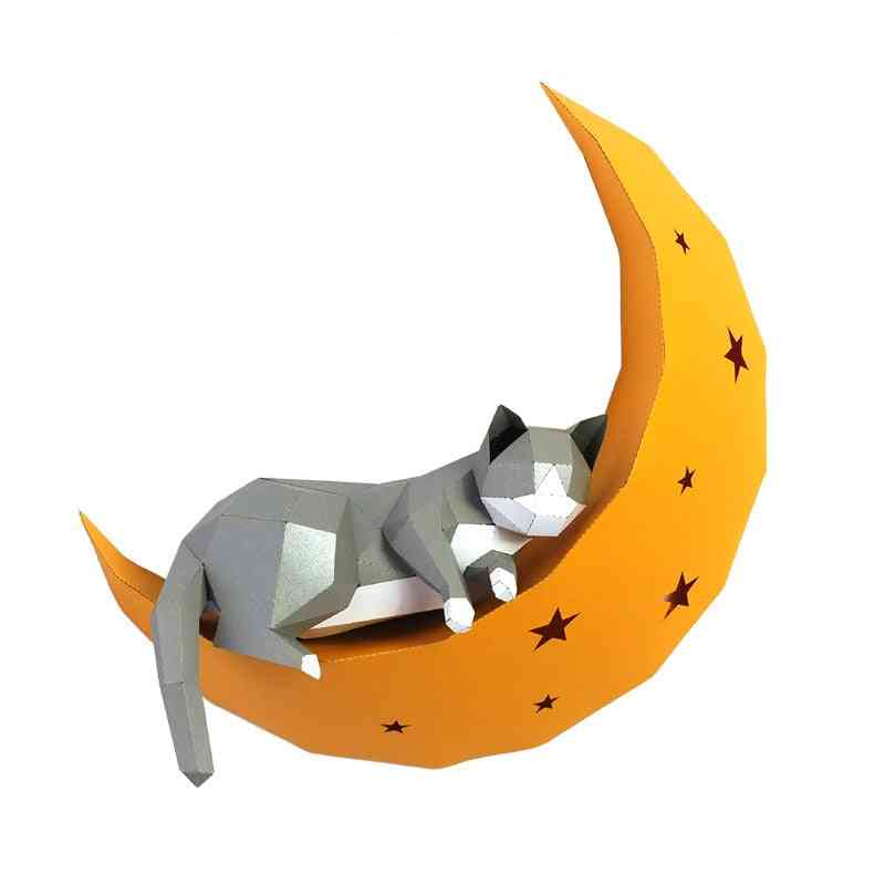 3d Cat On Moon Animal Paper Wall Art Sculpture Model Toy For Home Decor