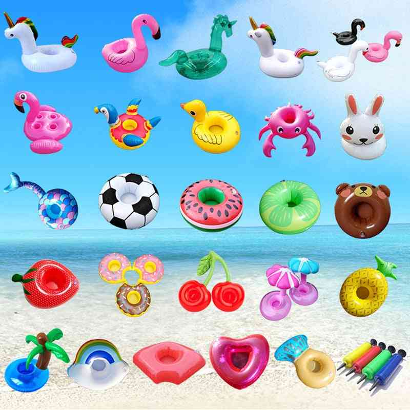 Inflatable Flamingo Drinks Cup Holder Pool Floats Bar Coasters Floatation Devices Toy