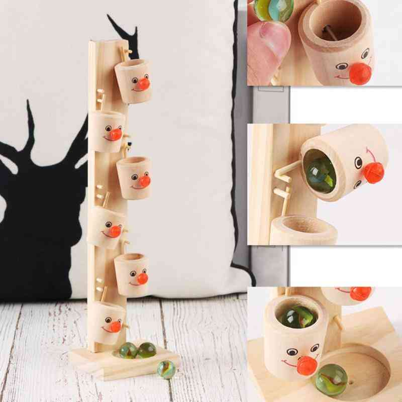 Wooden Tree Visual Tracking Whole Solid Wood Production - Marble Ball Run Track Game Montessori Baby Kid Block Educational Toy (a)