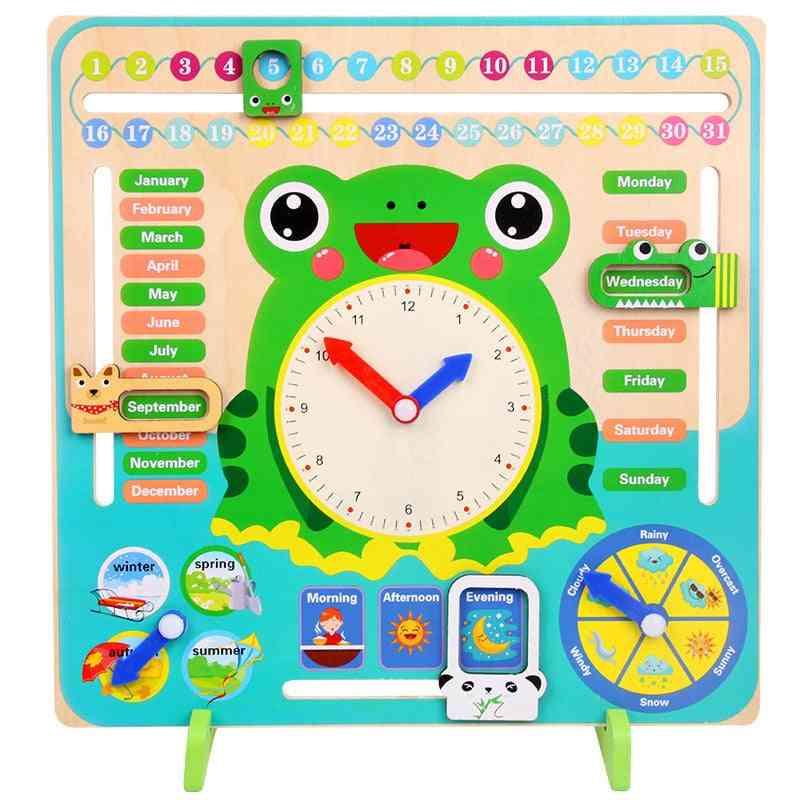 Wooden Cartoon Frog Clock Set Wood Calendar- Education