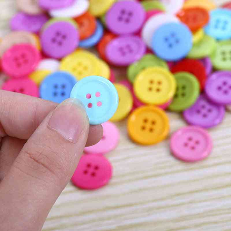 15mm, Thin Edge Plastic Buttons For Craft, Clothing And Educational