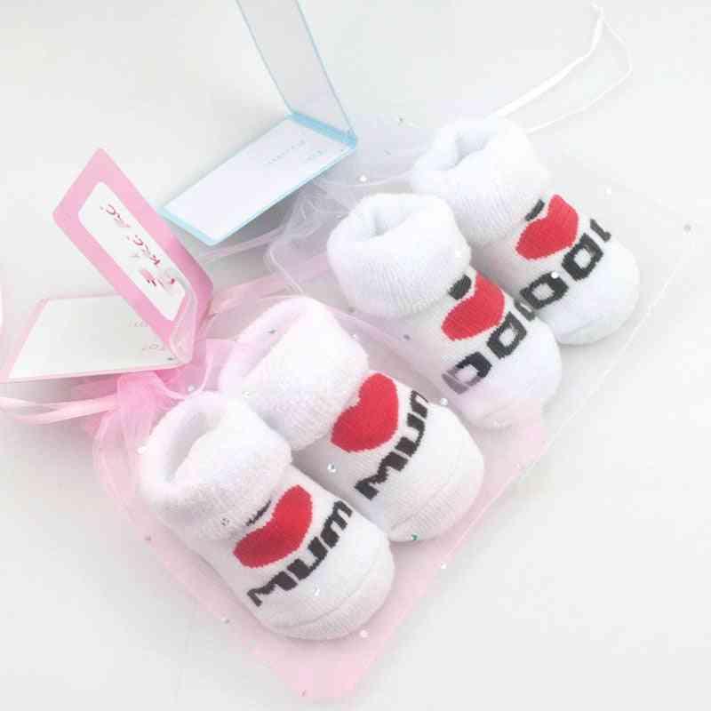 Love Dad Love Mum Cartoon 100% Cotton Baby Socks Nested