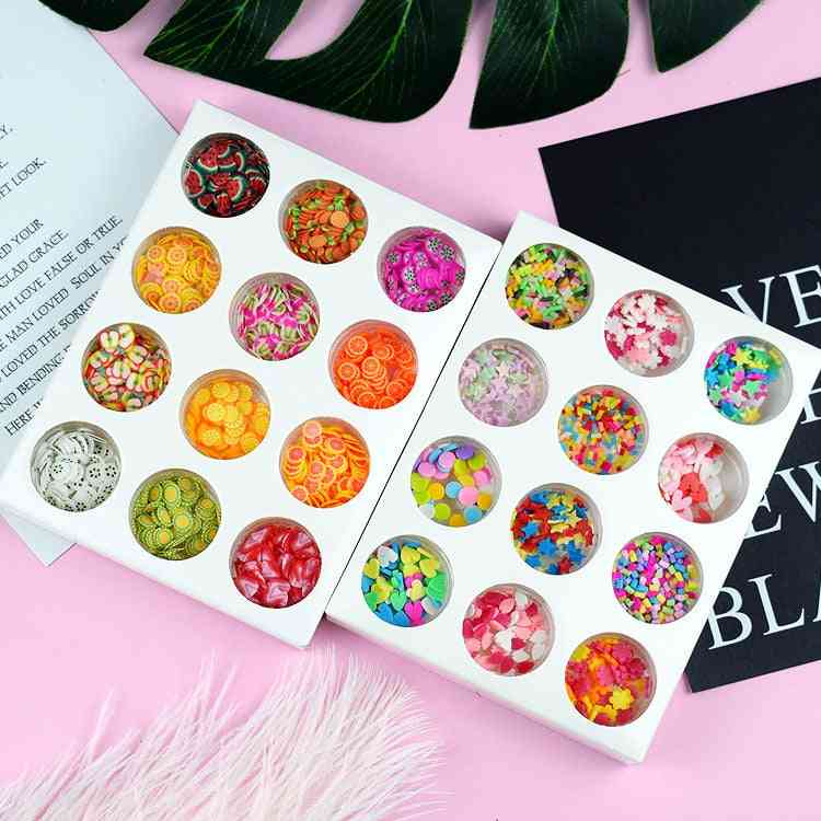 12 Type/set Hand Crystal Slime Supplies - Fruit Flower Slices Nails Art Tips Box