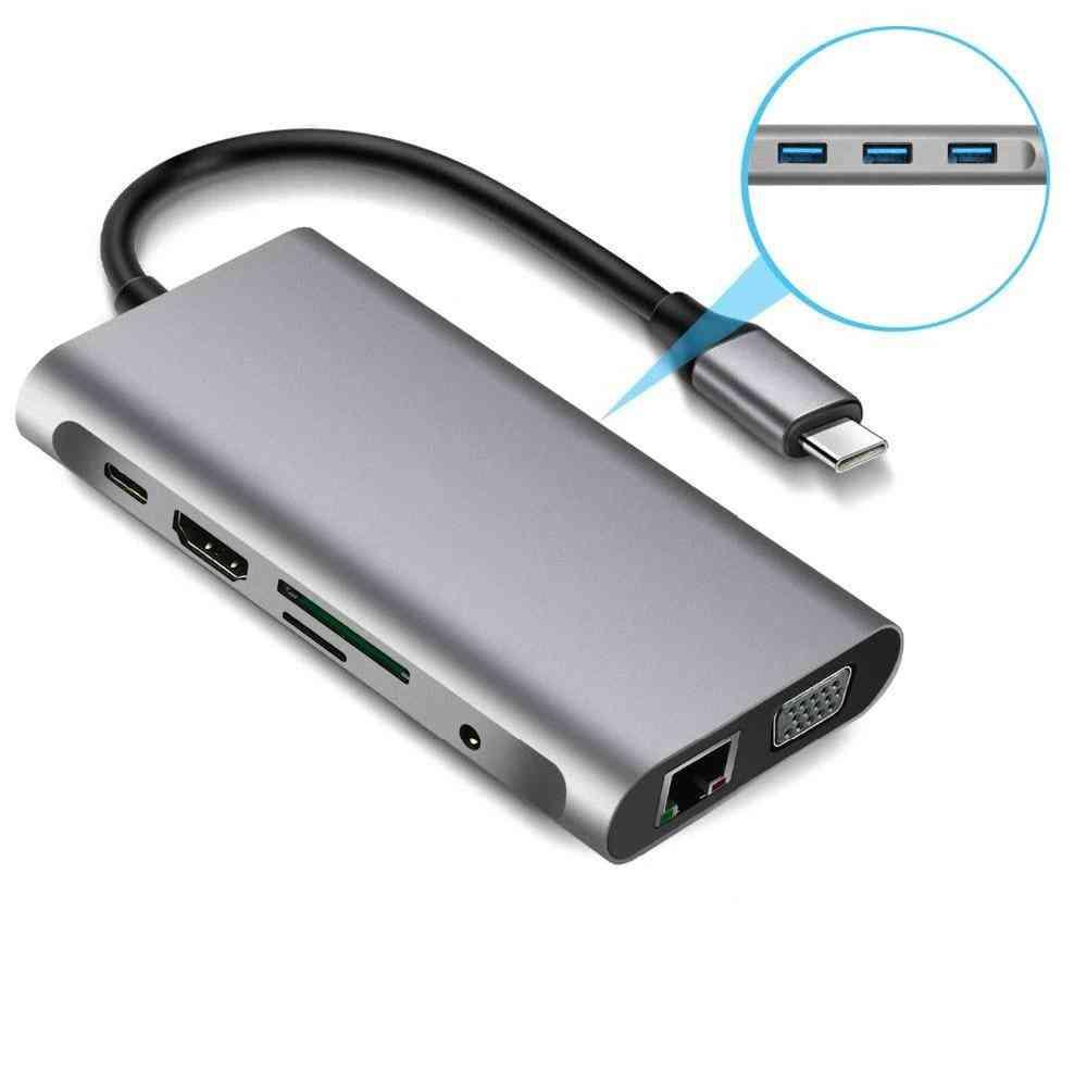 Type-c To Rj45 Gigabit Lan Ethernet, Hdmi Vga Adapter Sd Tf Card Reader