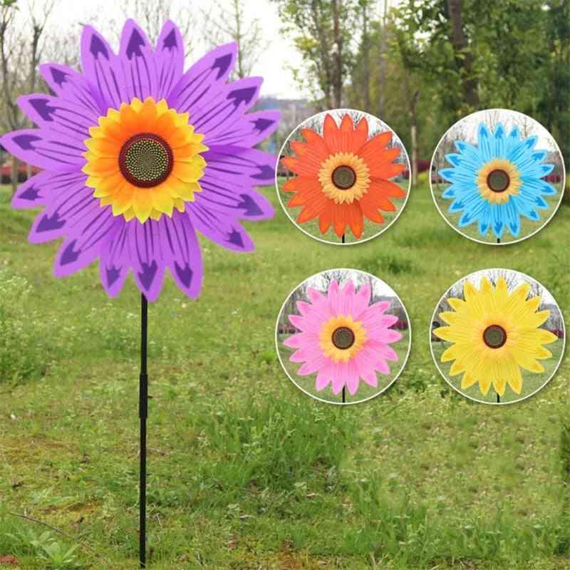 Large Double Layer Sunflower - Windmill Wind Spinner Yard Garden Decor