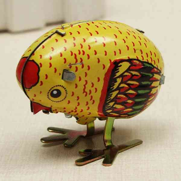 Wind Up Chick Tin Classic Toy, Clockwork Spring Pecking Chick Style Metal