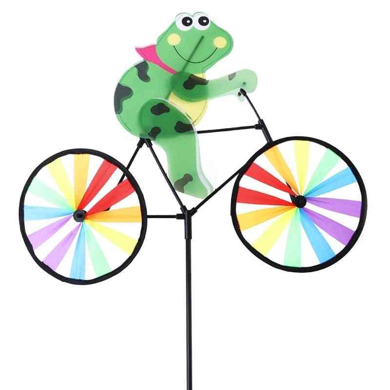 3d Frog On Bike Windmill Whirligig Garden Lawn Yard Decor Wind Spinner