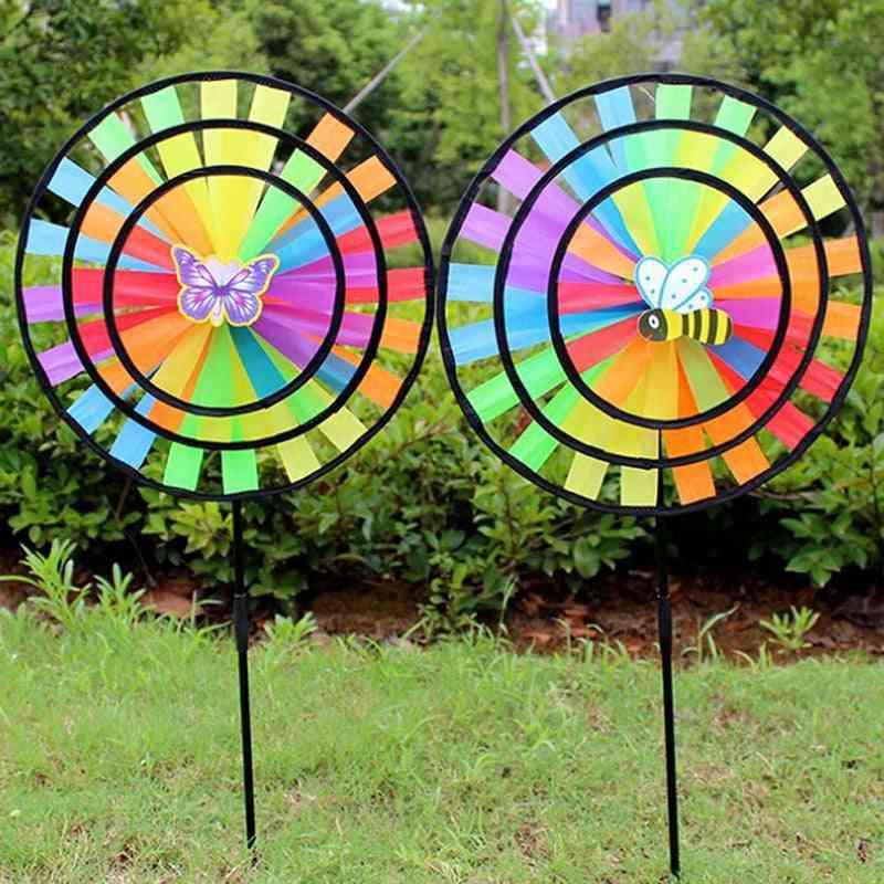 Rainbow Triple Wheel Wind Spinner - Windmill For Garden Yard Decor