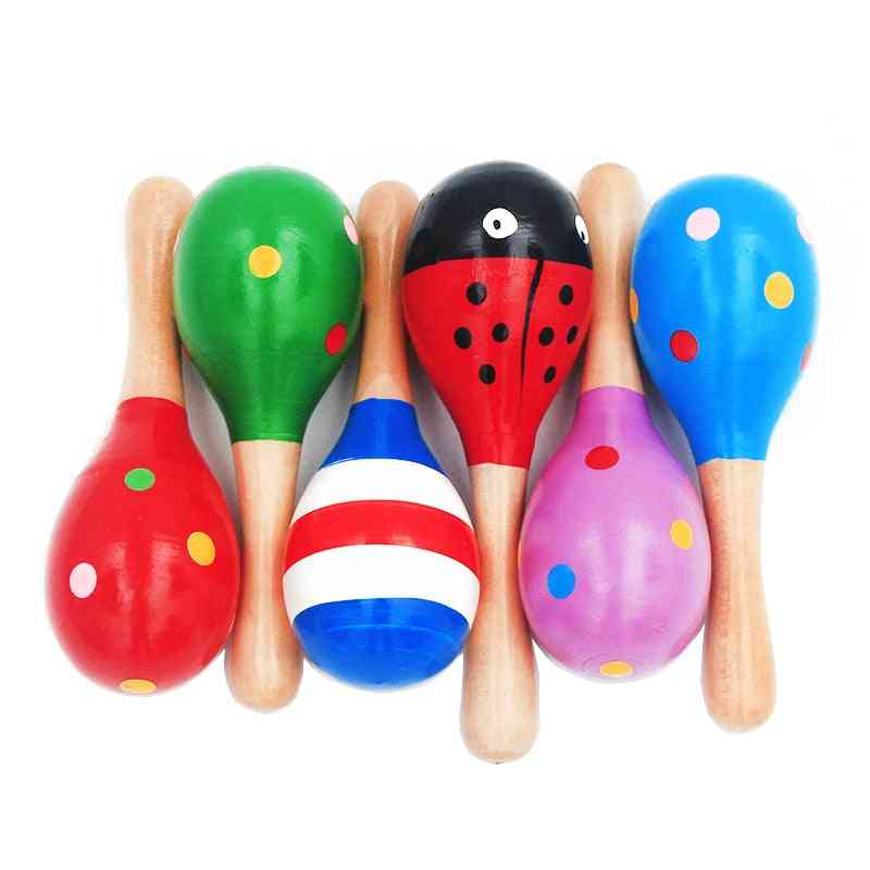 Infant & Toddlers Sand Hammer - Wooden Maraca Rattles Toy