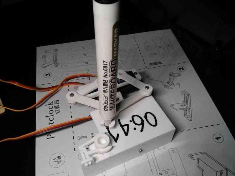 Arduino Plotclock Small Base Clock - Manipulator Writing And Drawing Robot Maker Stem Toy