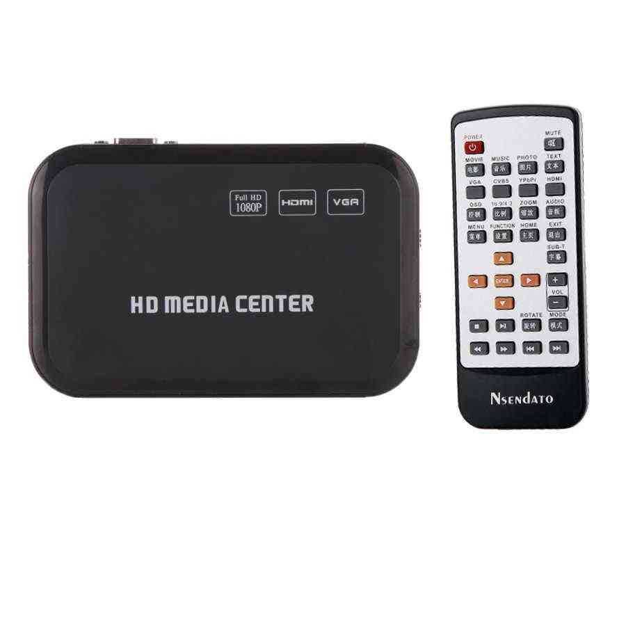 Full Hd 1080p Media Player For Hdmi Vga Av Usb Sd/mmc Port, Remote Control Cable Mkv H.264
