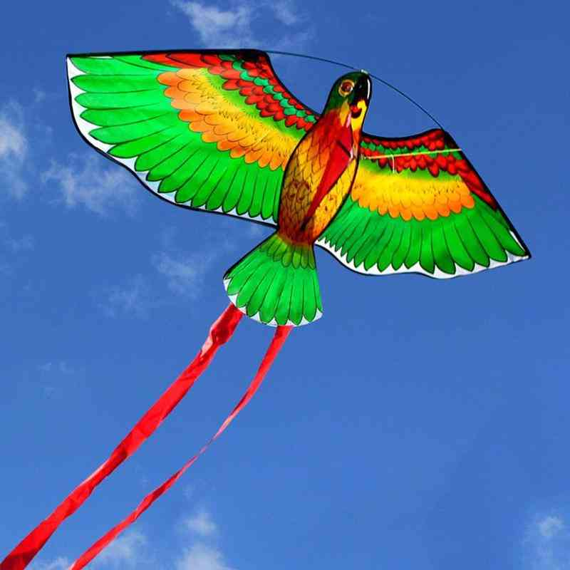 Outdoor Red Green Blue Parrots Kite, Single Line Breeze Flying Fun Sports