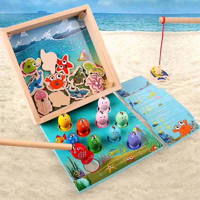 Non Electric, 3d Magnetic Fishing Game-wooden Toy