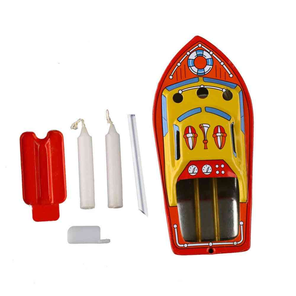 Vintage Retro Style, Candles Powered Steam Boat-tin