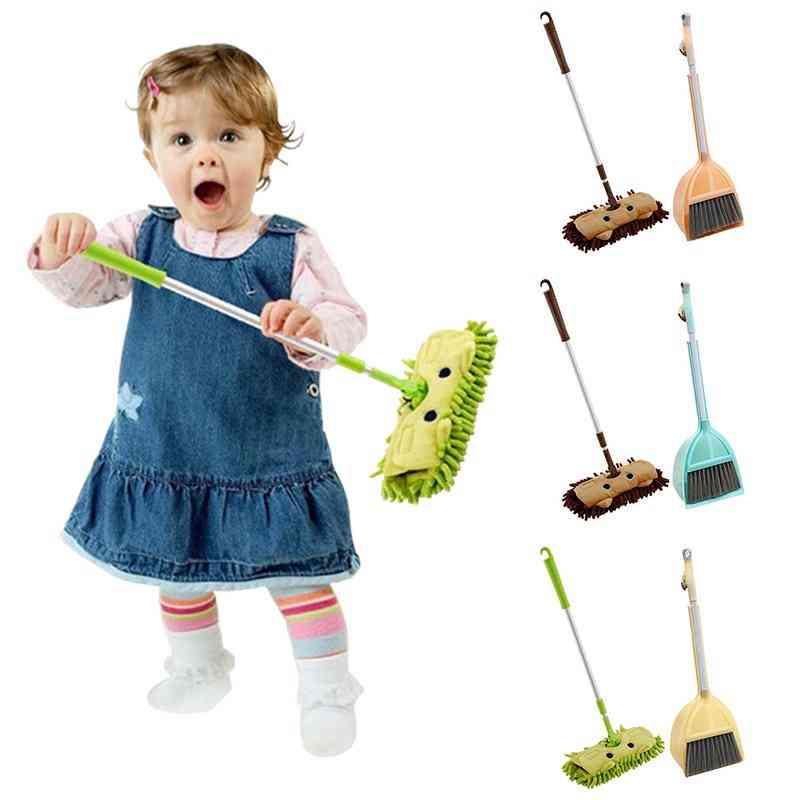 Children Mop Broom Dustpan Set - Mini Sweeping House Cleaning
