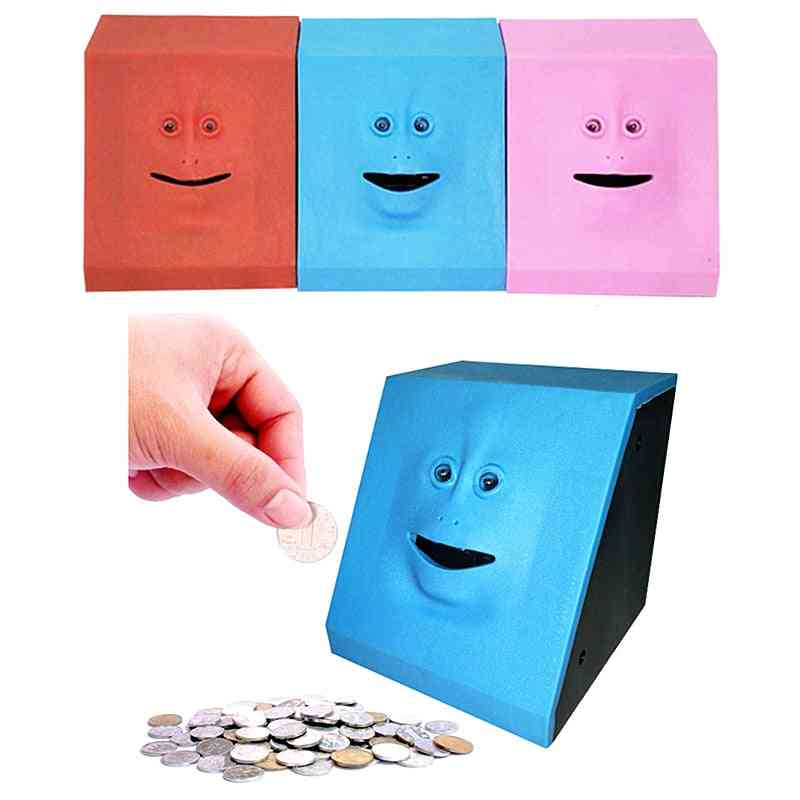 Cute Unique Face, Money Eating Bank Box With Built-in Motion Sensor