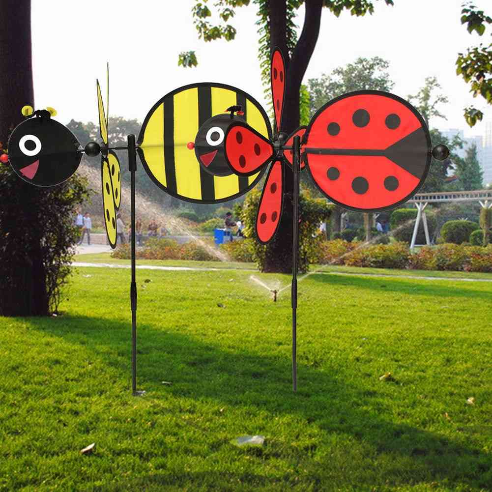 Bumble Bee/ladybug Design Wind Spinner For Home Yard And Garden Decor