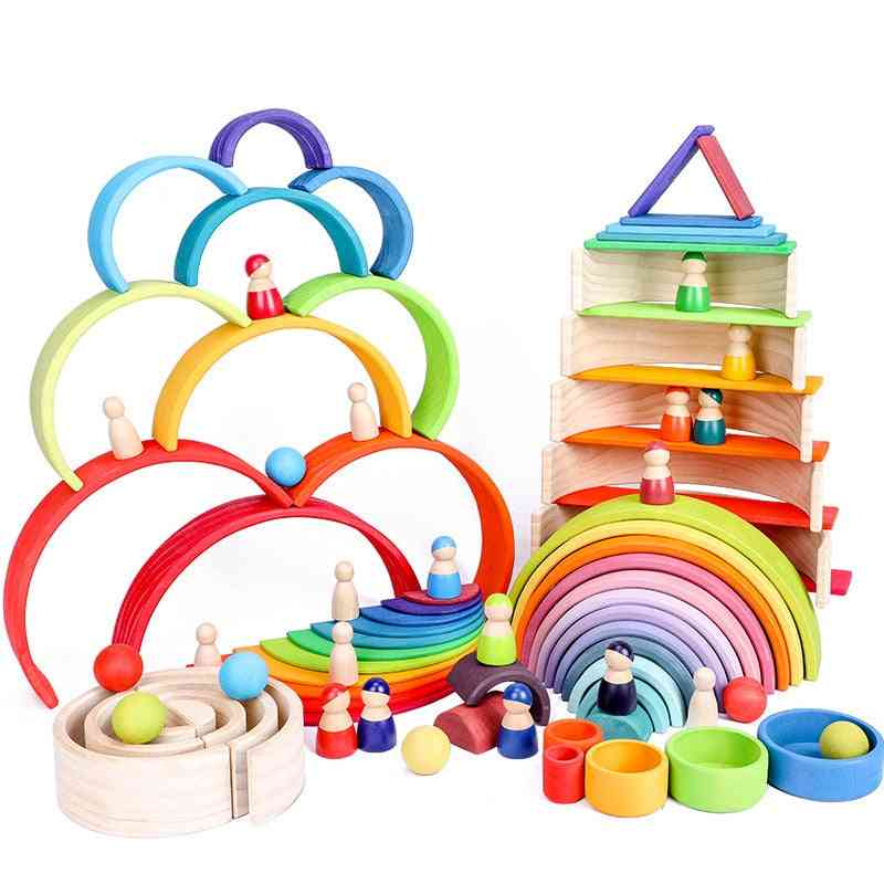 Large Size Rainbow Stacker, Wooden