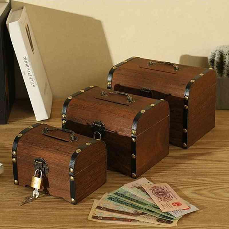 Children Small Change Saving Bank, Vintage Wooden Coins Box