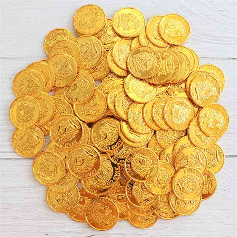 Pirate Gold Treasure Coins Plastic Set For Play