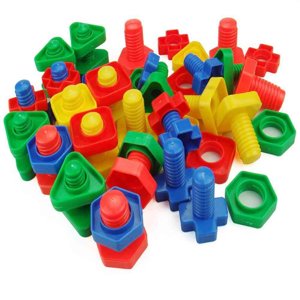Plastic Screw Nut Insert Building Blocks Educational Toy