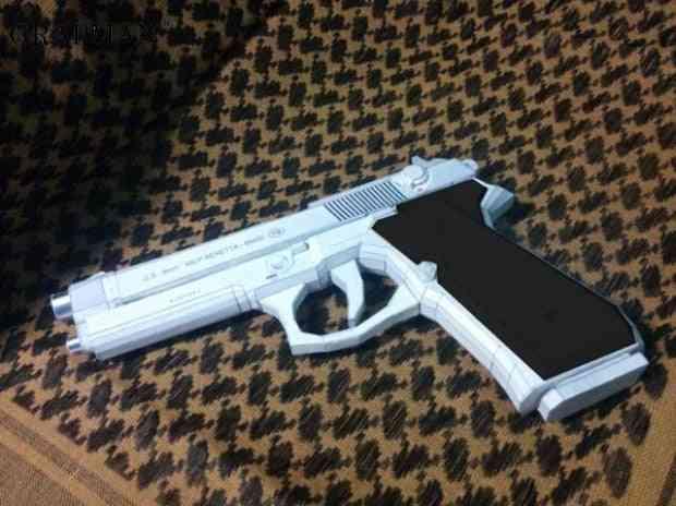 Belletta M9 Pistol Paper Model Weapon Gun- 3d Handmade Drawings Military Jigsaw Puzzle