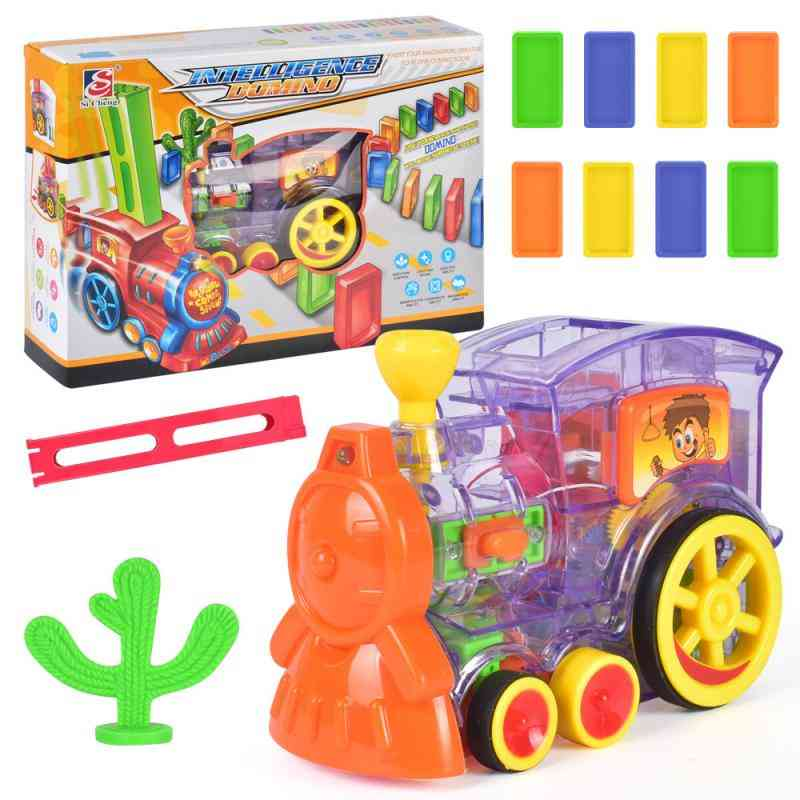 Cartoon Rally Train Shaped Toy Set-domino Blocks, Loading Cartridges And Artificial Cactus Tree For