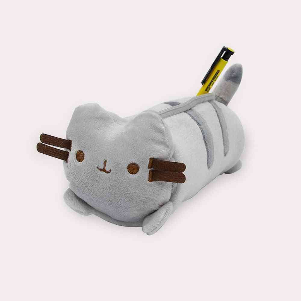 Large Capacity Plush Japanese Style Cute Color Cat Pencil Canvas Case, Stationery Storage Organizer Bag