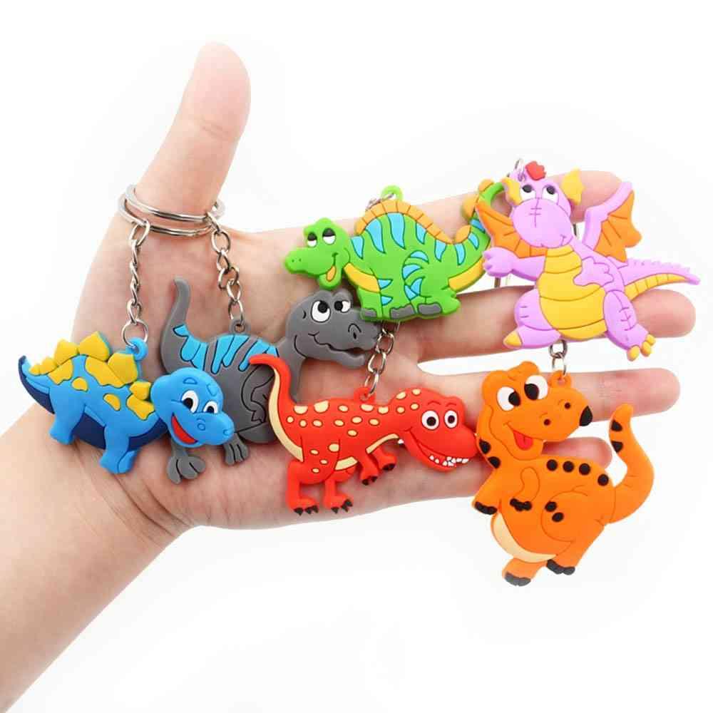 Baby Dinosaur Keychain Set Kids Soft- Pvc Keyring Charm Men, Auto Pendant Plastic Cartoon Turtle