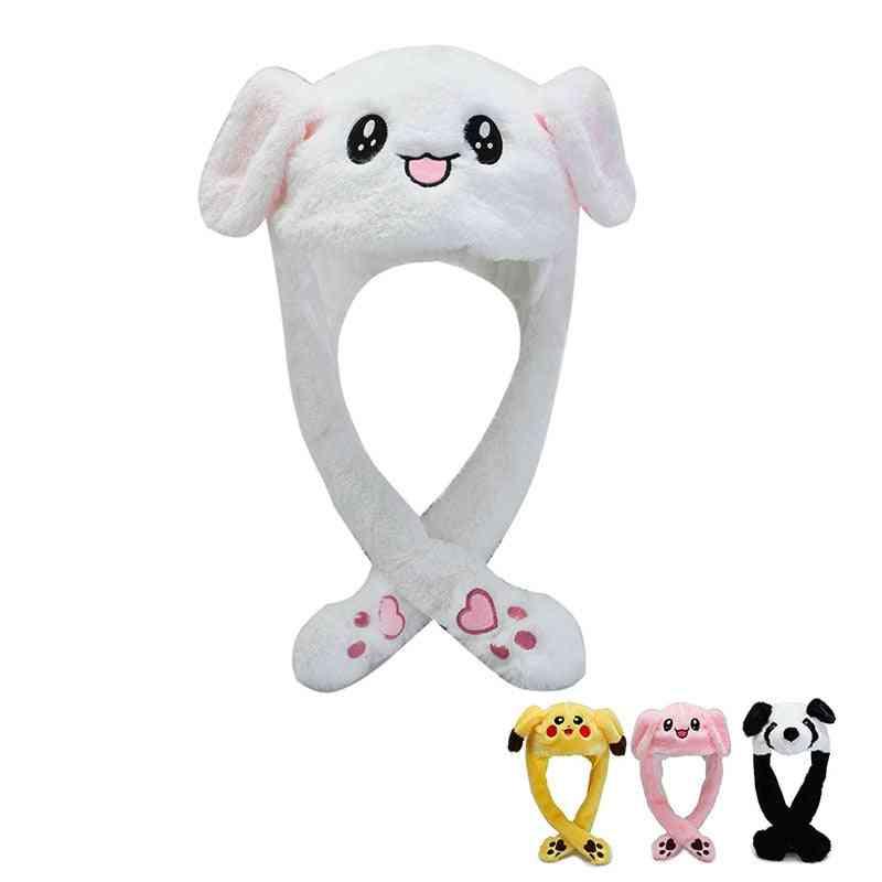 Cartoon Cuddly Moving Ear Rabbit / Panda Hat Dance Plush, Soft Stuffed Animal