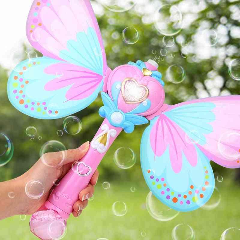Electric Magic Wing Wand Automatic Soap Bubble Blowing Gun Blower Machine Toy