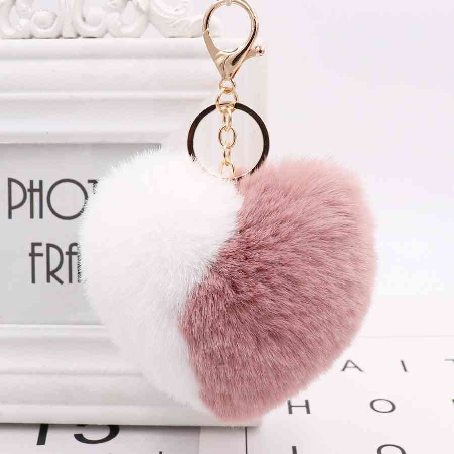 Love Heart Pompom Ball Plush Toy With Keychain For Women Purse