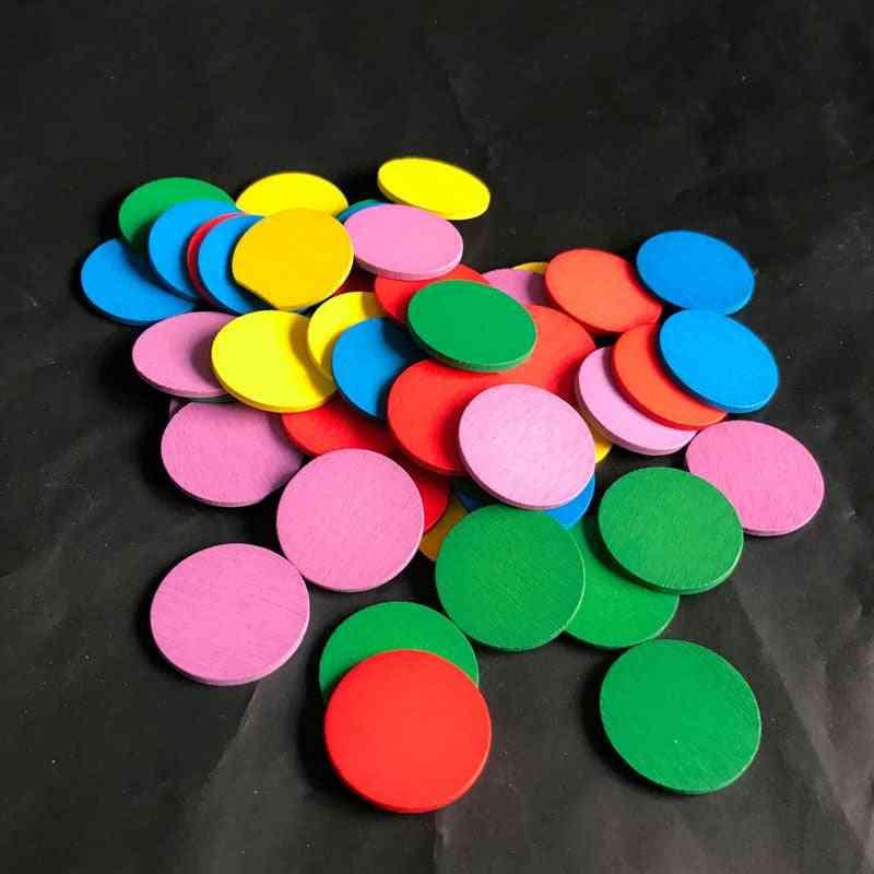 Montessori Educational Wooden, Colors Sense Rounds Blocks Sensory Math Kids Development Toy Games
