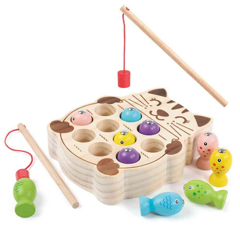 Wooden Pretend Cats Fishing Magnetic Board Game Interactive Toy