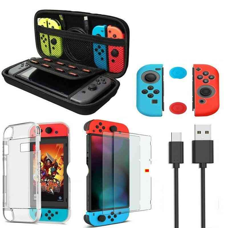 6 In 1 Game Accessory Set For Nintend Switch Travel Carrying Bag Screen Protector Case Charging Cable