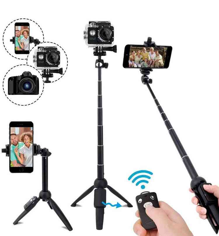 Extendable, Wireless Bluetooth Selfie Stick And Tripod With Remote For Iphone And Dslr Camera