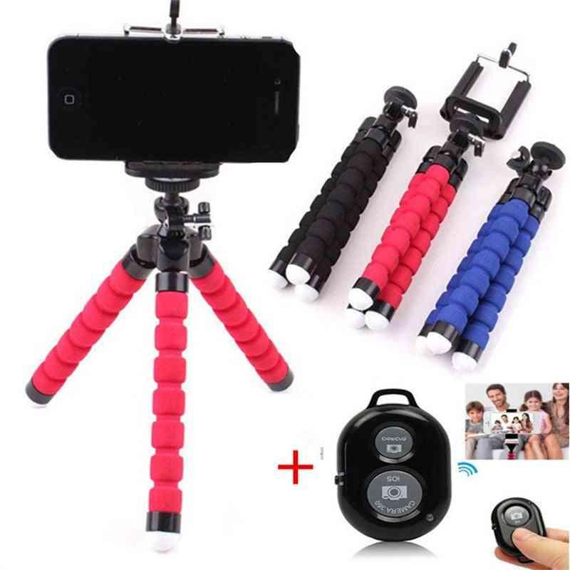 Phone Tripod Holder Flexible -stand Mount Bluetooth Remote Shutter Selfie
