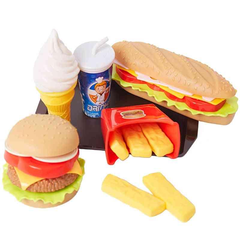 Children Pretend Simulation Food, Baby Play House Hamburger Dog French Fries Kitchen Set
