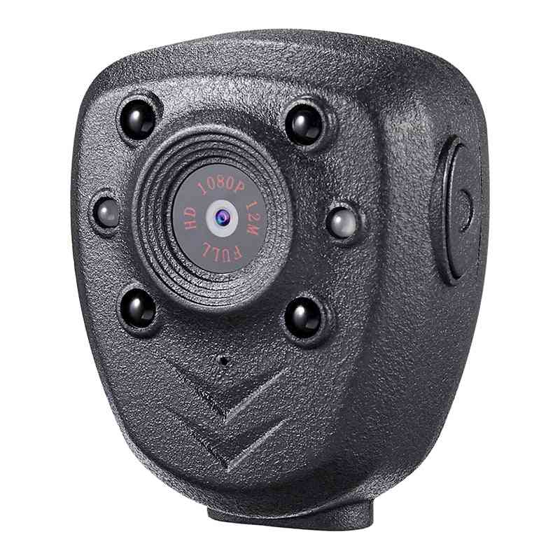 Hd-1080p Police-body-lapel Worn Video Camera, Dvr Ir Night-visible Led-light Cam 4-hour Record Digital Mini Dv Recorder Voice 16g (black)