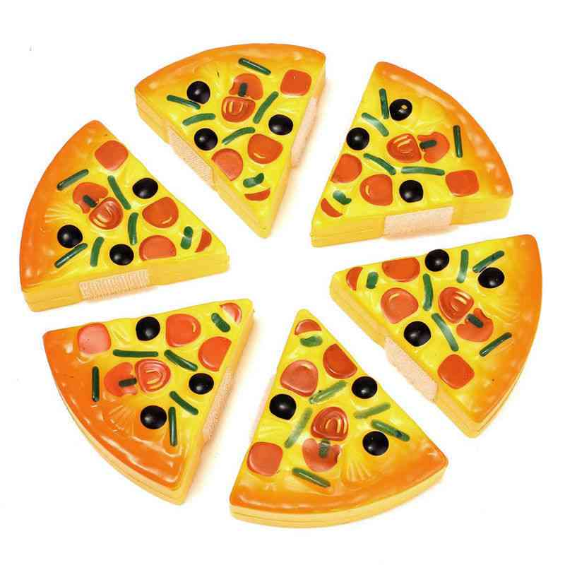6pcss Kids Pizza- Slices Toppings Pretend Dinner Kitchen Play Food Kids (no Stick Beside)