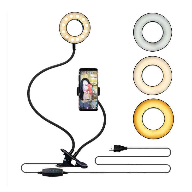 Universal Selfie Ring-light With Flexible Mobile Phone Holder, Lazy Bracket Desk Lamp Led Light For Live Stream