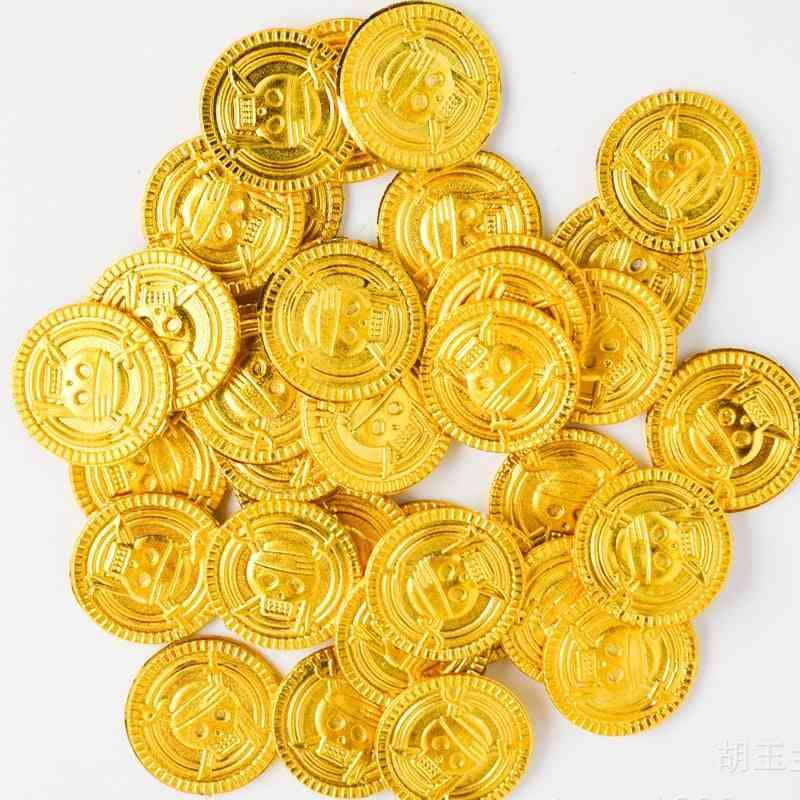 50pcs Plastic Simulation Pirates Gold Coins For