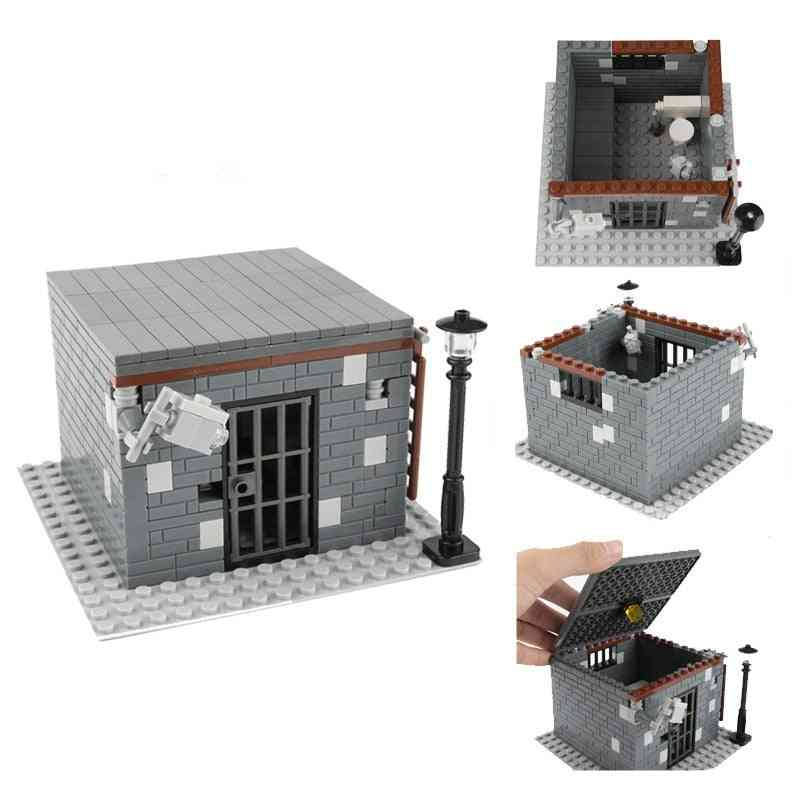 Moc Building Block City Accessories, Prison Police Cell Ward, Military Room / House Model Set
