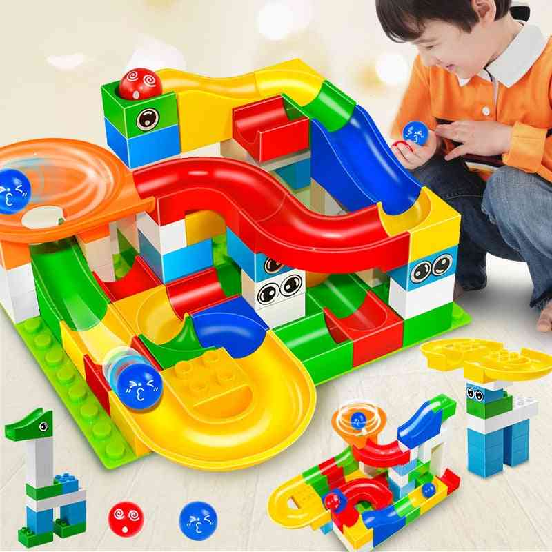 Gaming Building Blocks + Construction Marble Race Run Maze Balls Toy