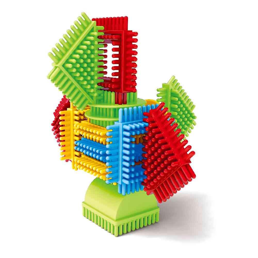 100pcs 3d Bristle Shape Building Blocks Tiles - Construction Playboards For