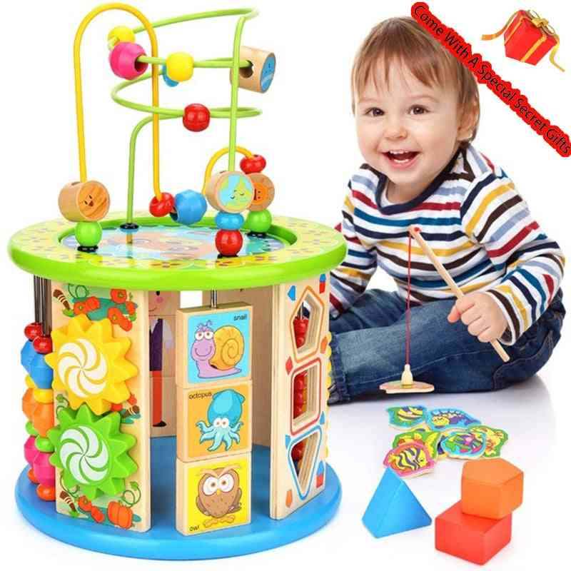 Activity Cube, 10 In 1 Multipurpose, Educational Wooden Toy For Kids