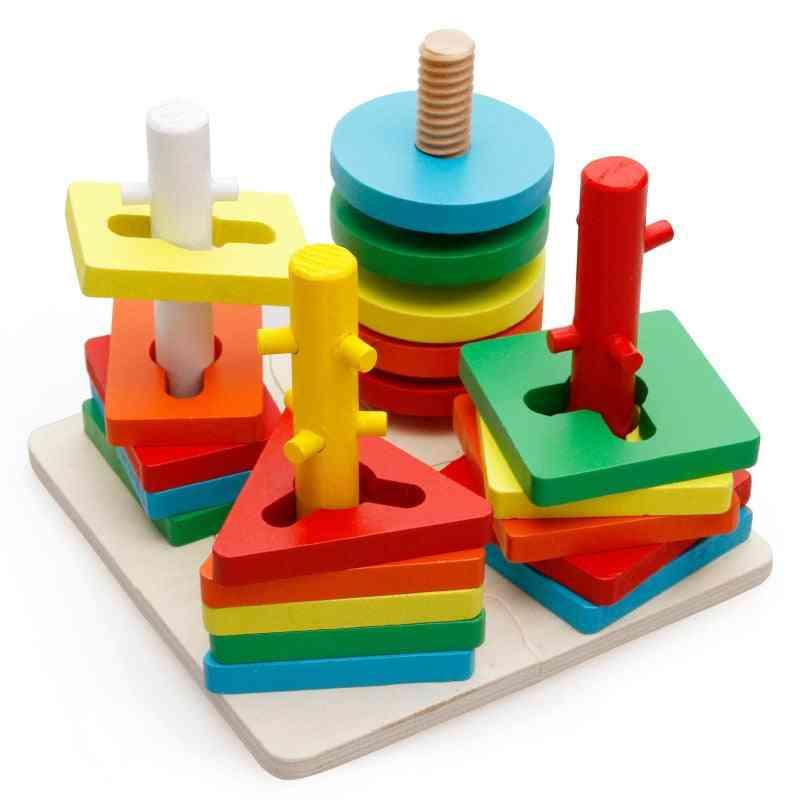 Baby Brain Development Montessori Match, Geometric Sorting Board Wooden Blocks Kids Educational Building Blocks (plum)