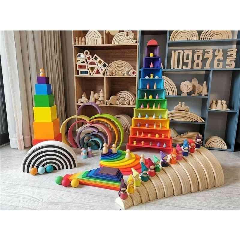 Wooden Rainbow Building Blocks, Balls Plate Toy