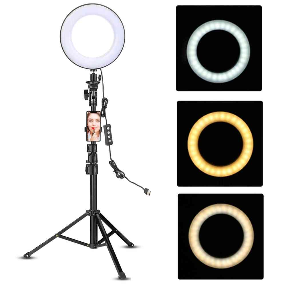 Led Video Ring Light With Tripod Stand, Phone Holder