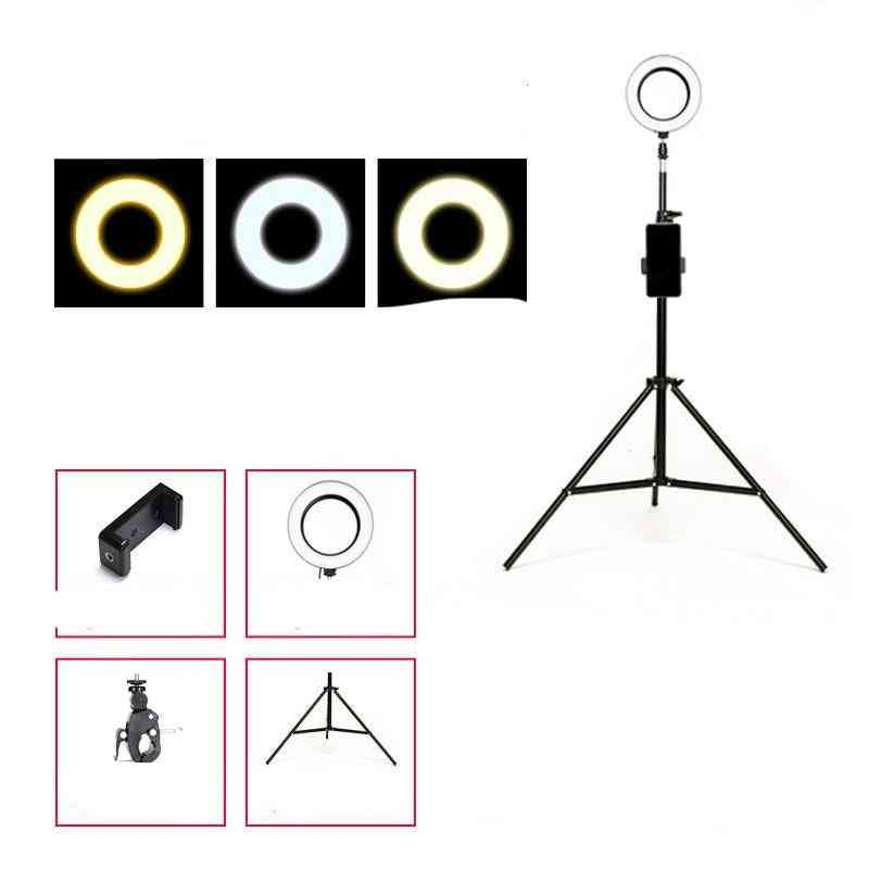 Led-selfie Ring-light With Stand For Smartphone